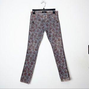 Maison Scotch Gray Floral Skinny Corduroy Pants